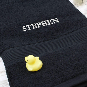 Personalised Black Bath Towel
