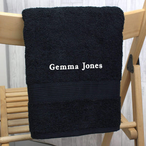 Personalised Black Hand Towel