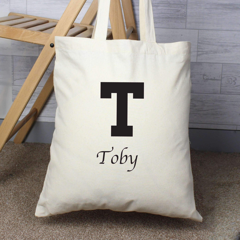 b9f6f193a Personalised Black Initial Cotton Bag – Personalised Gifts and Photo Gifts  by Always Personal