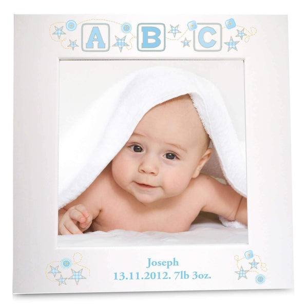 Personalised Blue ABC White 4x6 Photo Frame
