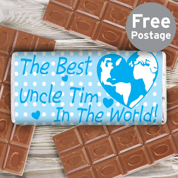 Personalised Blue Best in the World Milk Chocolate Bar