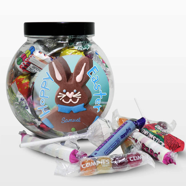 Personalised Blue Bunny Sweet Jar