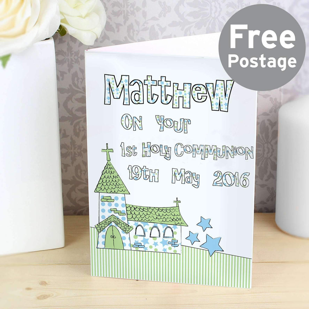 Personalised Blue Church Card