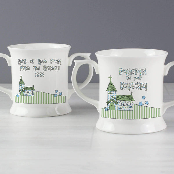Personalised Blue Church Loving Mug