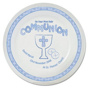 Personalised Blue First Holy Communion Plate