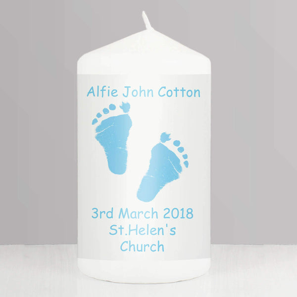 Personalised Blue Footprint Candle