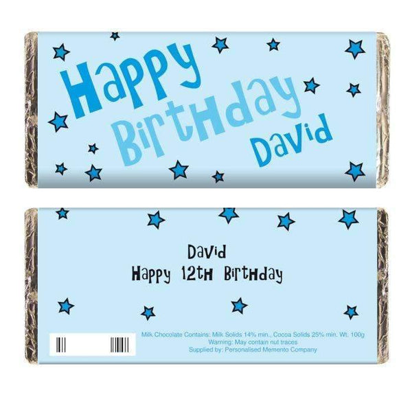 Personalised Blue Happy Birthday Stars Milk Chocolate Bar