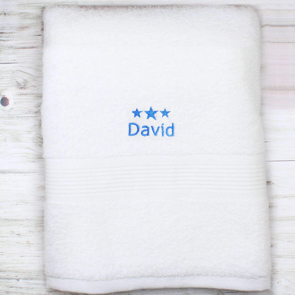 Personalised Blue Stars White Bath Towel