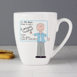 Personalised Blue Teachers Whiteboard Latte Mug