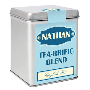 Personalised Blue Vintage Tea & Tin