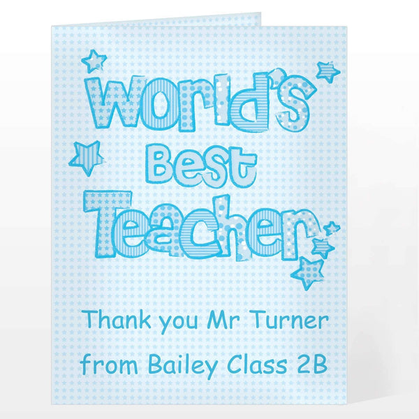 Personalised Blue World's Best Teacher Card