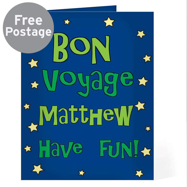 Personalised Bon Voyage Blue Star Card