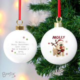 Personalised Boofle Christmas Reindeer Bauble Memento