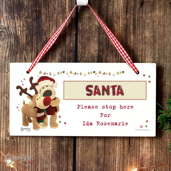 Personalised Boofle Christmas Reindeer Wooden Sign