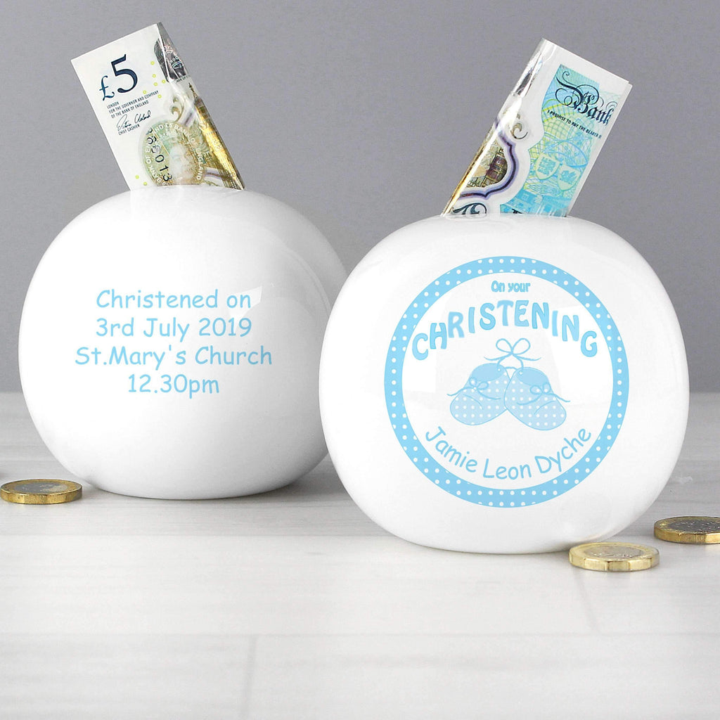 Personalised Bootee Blue Christening Money Box