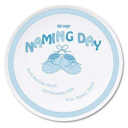 Personalised Bootee Blue Naming Day Plate Memento