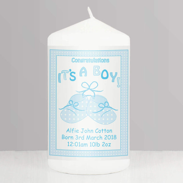 Personalised Bootee It's a Boy Candle