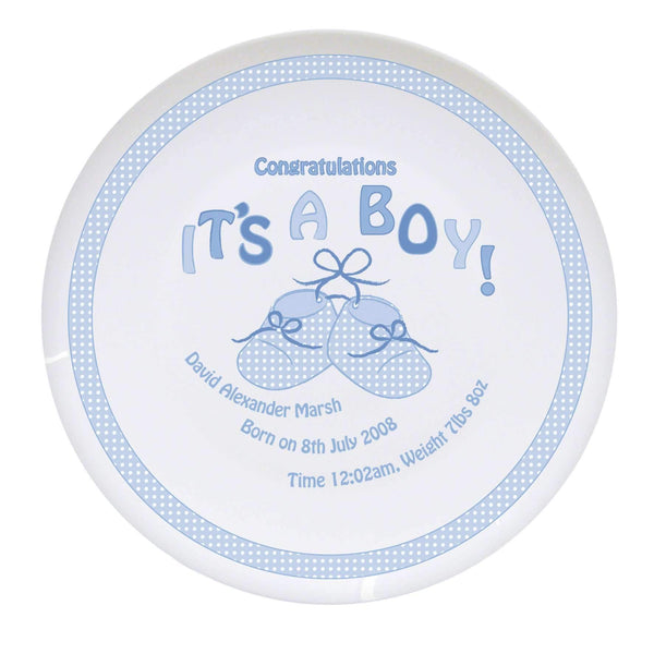Personalised Bootee It's a Boy Plate