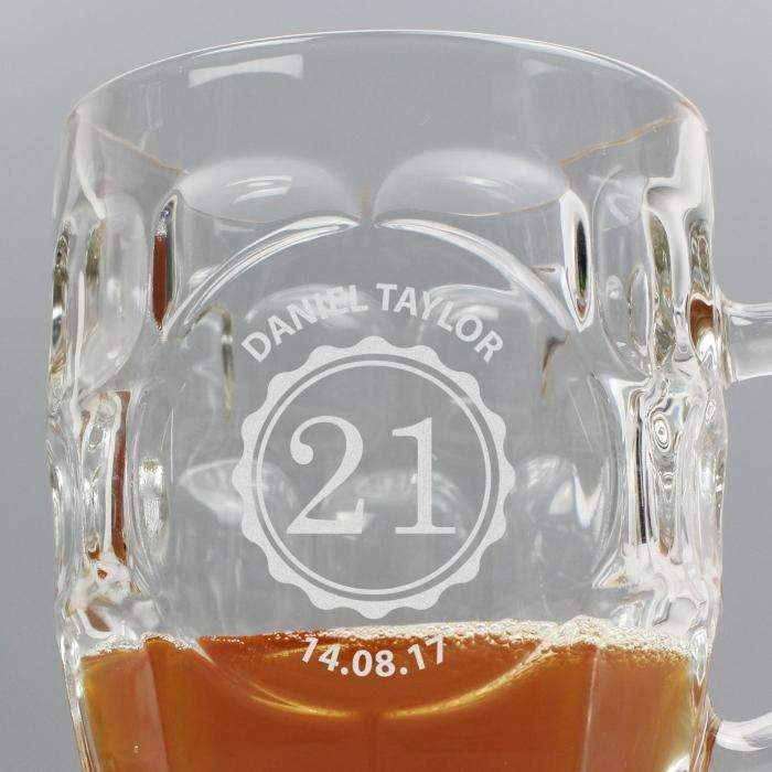 Personalised Bottle Top Dimple Tankard Pint Glass