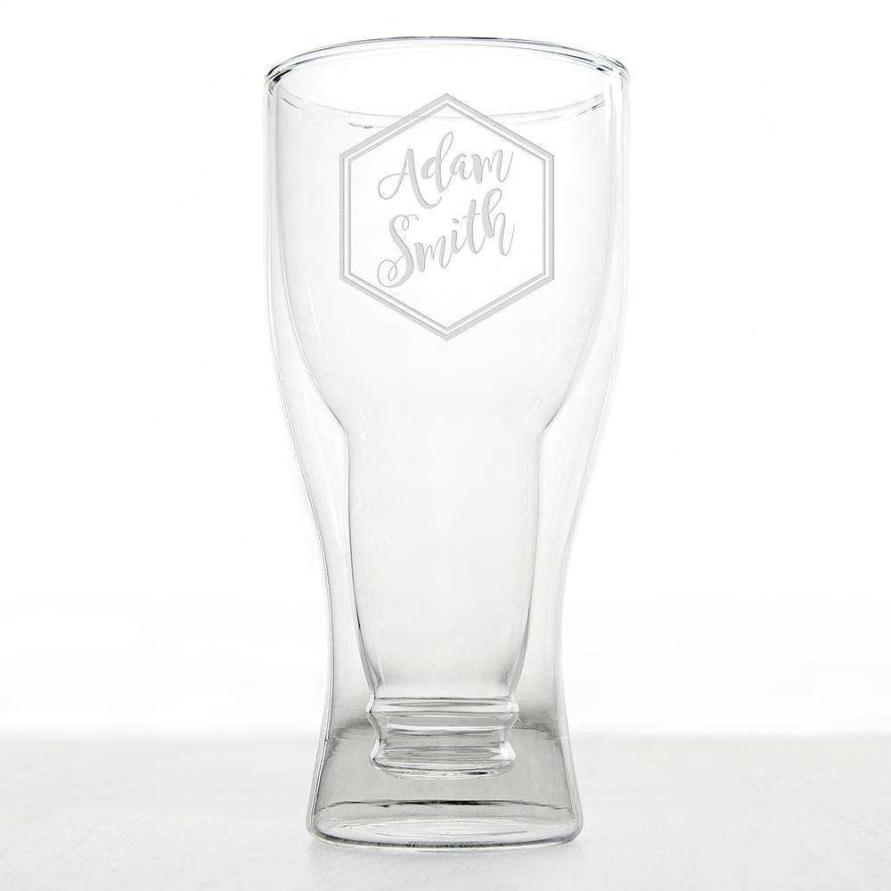 Personalised Bottoms Up Beer Glass