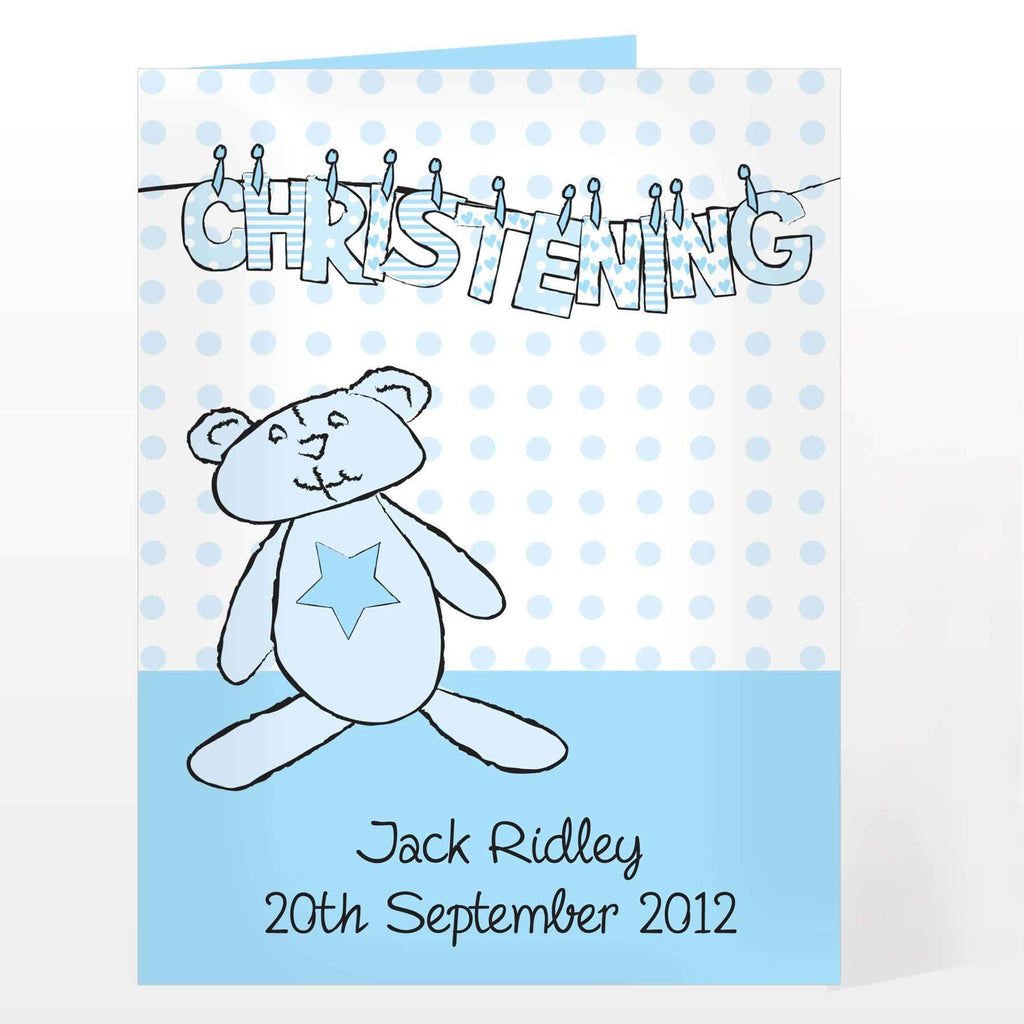 Personalised Boy Christening Wash Line Card