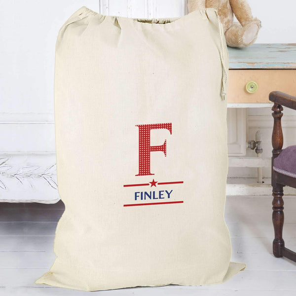 Personalised Boys Initial Cotton Sack