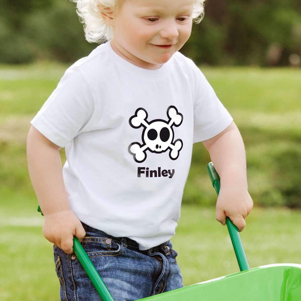 Personalised Boys Skull & Cross Bone Tshirt 1-2 years