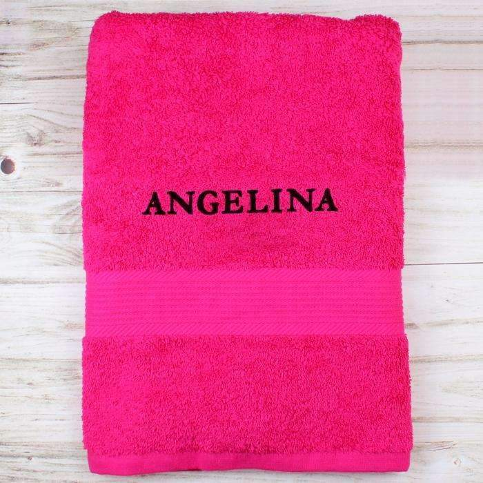 Personalised Bright Pink Bath Towel Memento