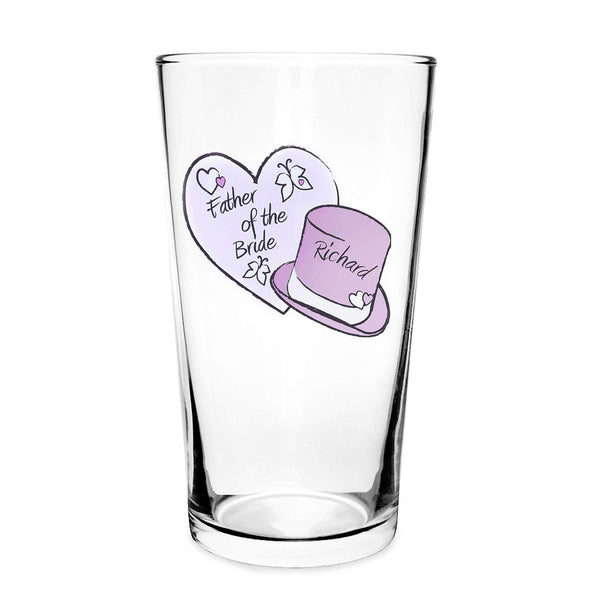 Personalised Butterfly Hats Wedding Pint Glass