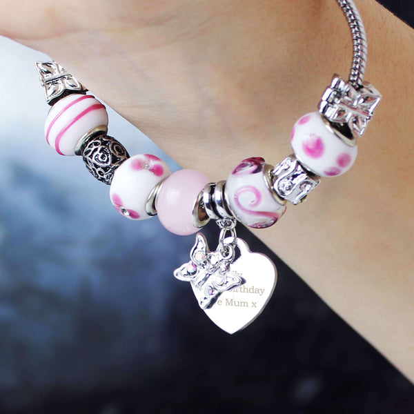 Personalised Butterfly & Heart Charm - Candy Pink - 21cm
