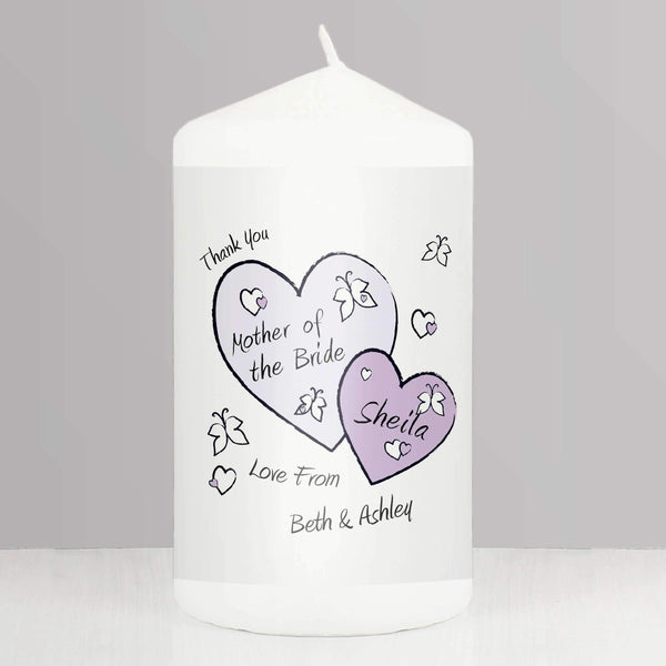 Personalised Butterfly Hearts Wedding Candle