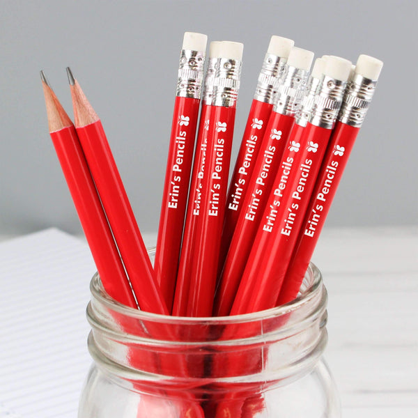 Personalised Butterfly Motif Red Pencils