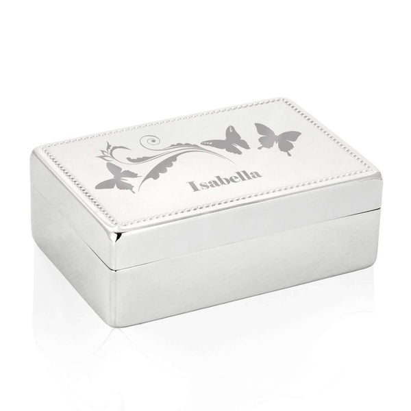 Personalised Butterfly Swirl Rectangular Jewellery Box