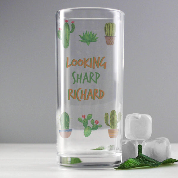 Personalised Cactus Hi Ball Glass