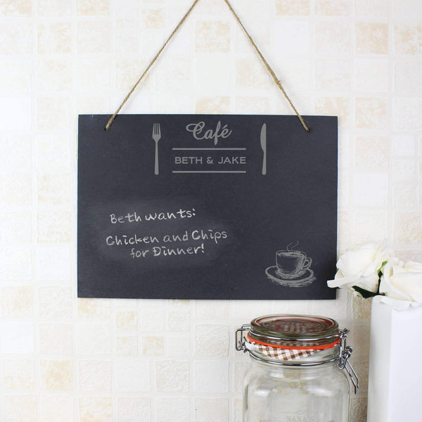 Personalised Cafe Hanging Slate Sign