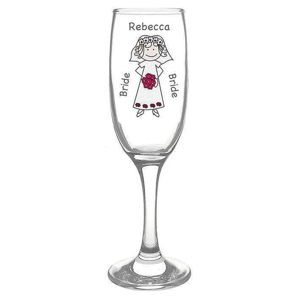 Personalised Cartoon Wedding Flute Glass