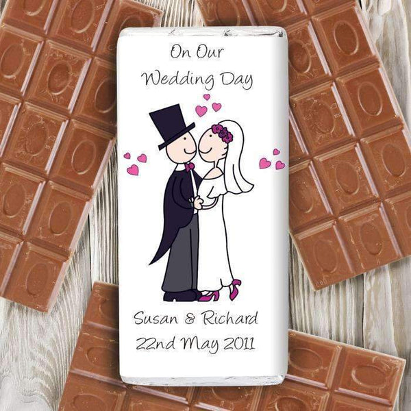 Personalised Cartoon Wedding Milk Chocolate Bar