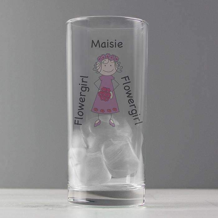 Personalised Cartoon Wedding Young Lady Hi Ball Glass Memento
