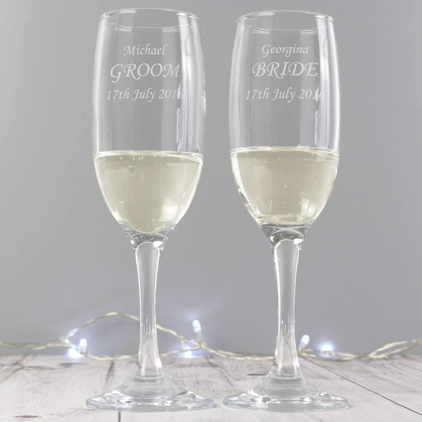 Personalised Celebration Pair of Flutes with Gift Box