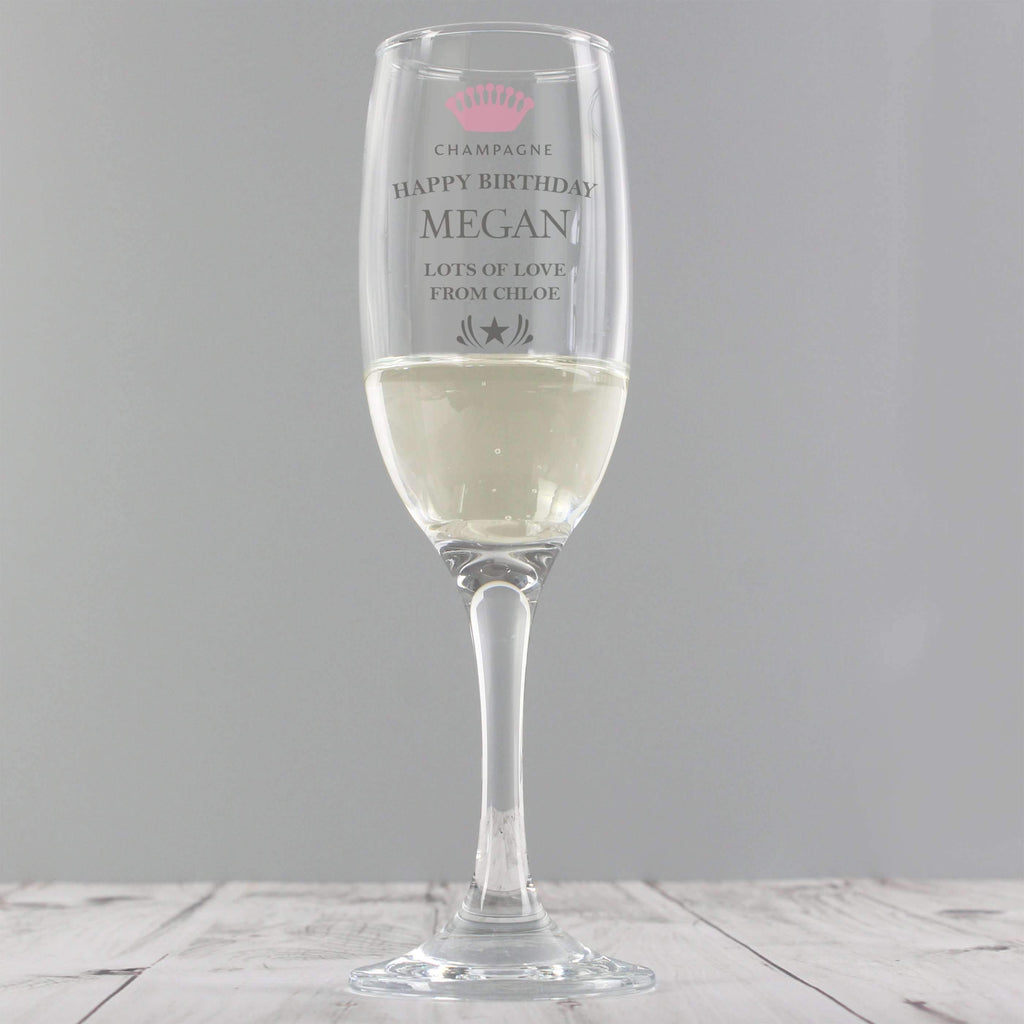 Personalised Champagne Crown Glass Flute Memento