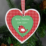 Personalised Christmas Bird Design Wooden Heart Shaped Decoration