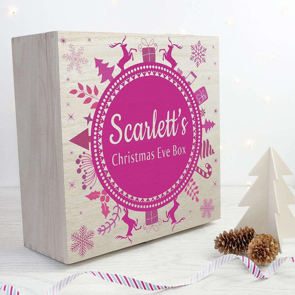 Personalised Christmas Eve Box With Snowflake Wreath Box Treat
