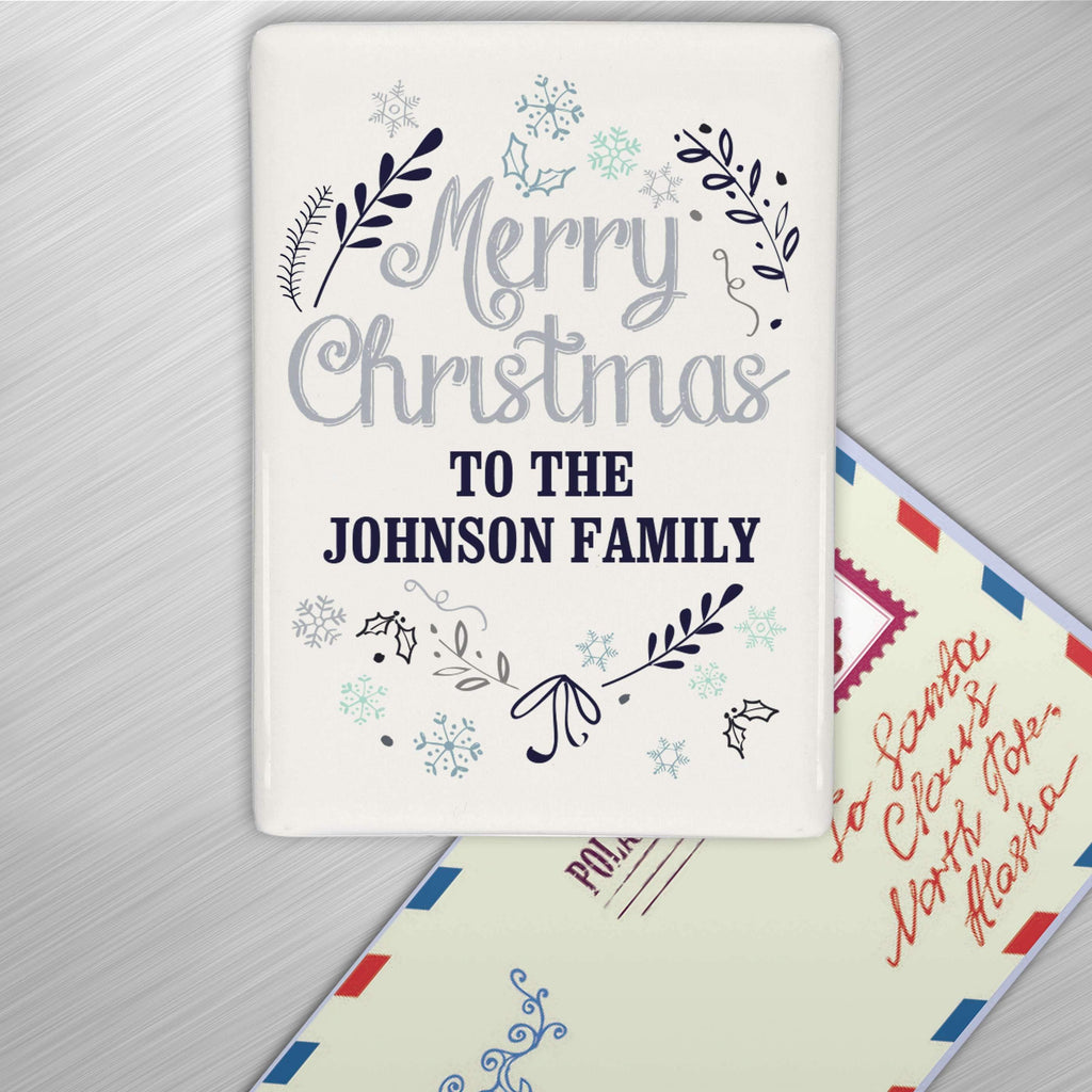 Personalised Christmas Frost Fridge Magnet Memento