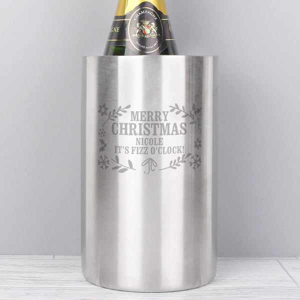 Personalised Christmas Frost Wine Cooler