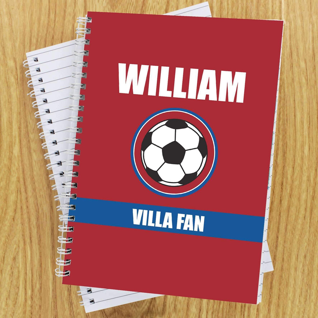 Personalised Claret and Blue Football Fan A5 Notebook Memento