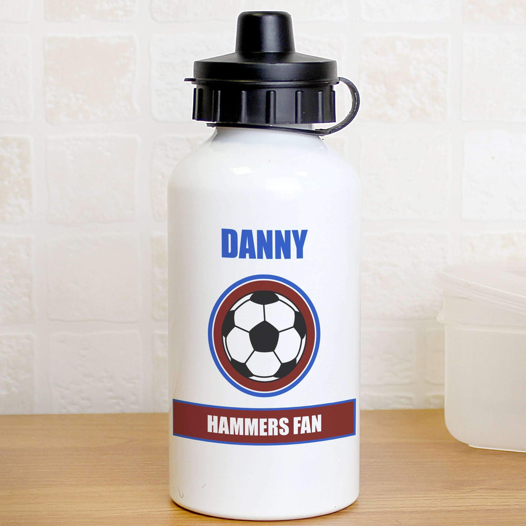 Personalised Claret and Blue Football Fan Drinks Bottle