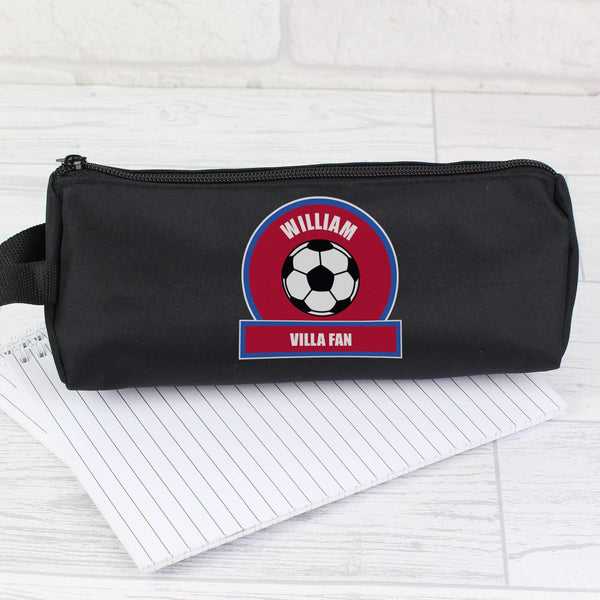Personalised Claret and Blue Football Fan Pencil Case