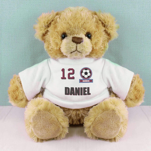 Personalised Claret and Blue Football Fan T-Shirt Message Bear