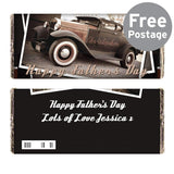 Personalised Classic Car Father's Day Milk Chocolate Bar