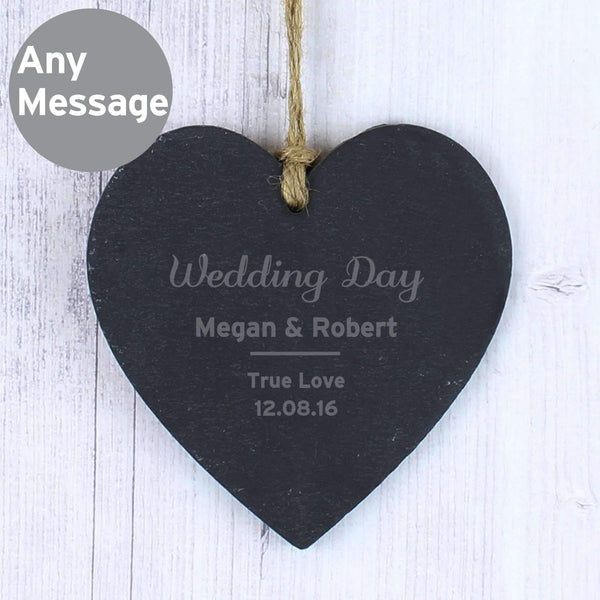 Personalised Classic Slate Heart Decoration